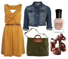 Fall engagement pictures outfit idea, like the idea of dress with jean jacket for middle outfit