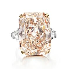 18-carat gold and platinum ring set with a 35.60 carat rectangular-cut pink diamond.