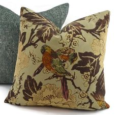 Throw Pillow Cover Brown Green Rust Red Blue & by ThePillowSpot