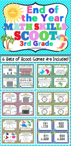 End of the Year Math Skills Scoot Bundle: 3rd Grade - Your class will have a blast reviewing 3rd grade Common Core math skills. This pack of 6 math Scoot games will keep your students engaged and motivated as you review key 3rd grade math skills. $