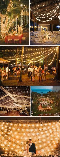 Backyard wedding ideas - romantic string lights for evening wedding reception ideas 2015 - New for 2019 backyard weddings are back in Wedding Reception Ideas, Evening Wedding Receptions, Wedding Planning, Wedding Ceremony, Wedding Themes, Reception Backdrop, Light Decorations For Wedding, Outdoor Decorations, Backyard Wedding Decorations