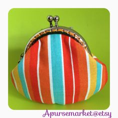 FREE SHIPPING - Handmade small coin purse with orange stripe on Etsy, $159.24 HKD