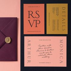 A wedding invitation suite that is really colorful and popping right away with a. A wedding invita Design Poster, Graphic Design Branding, Stationery Design, Invitation Design, Typography Design, Invitation Suite, Modern Wedding Stationery, Wedding Stationary, Colorful Wedding Invitations