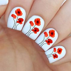 Poppy Flower Nail Decal by MilieNailsCreation on Etsy