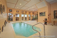 """Romantic Gatlinburg cabin with indoor pool and sauna. """"Wet N' Wild"""" luxury sleeps couple or small family. How cool would ur be to have your one sheltered inside pool! Cabins In Gatlinburg Tn, Tennessee Cabins, Gatlinburg Cabin Rentals, Pigeon Forge Tn Cabins, State Park Cabins, Luxury Log Cabins, Smoky Mountains Cabins, Mountain Cabins, Summer Cabins"""