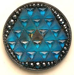 *OLD*SCARCE 19THC LG LACY GLASS W/TURQUOISE HONEYCOMB/99% ORIGINAL BCKPNT BUTTON