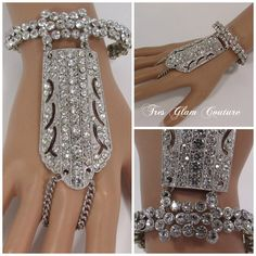 : Price $29.99 The Ivy Bracelet Finger Ring. Made with Crystal Rhinestones. One Size Fits All.