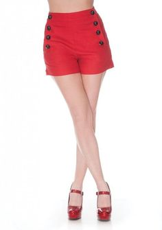 Super Stretch Shorts With Front Button Detail Red                               $32.99 AT vintagedancer.com