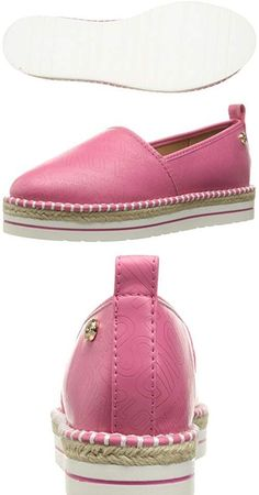 Look at this!  Love Moschino Womens Embossed Logo Espadrille Flat