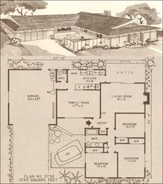 This average 1200 square foot house plan for the late 50s and early 60s offered a bath and a half, three bedrooms, family room, and eat-in kitchen. This plan is imperfect for its several flaws such as the lack of a dedicated dining room. However, there's easy access to the kitchen from the garage and a covered patio for dining alfresco. Stylistically, it has a light Pacific Islands touch with the exposed rafters and beams. The enclosed entry courtyard was a common amenity.