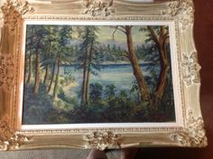 Oil on Canvas signed Painting Vintage Antique Large by USANOW