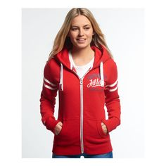 Superdry Track and Field Zip Hoodie (495 HRK) ❤ liked on Polyvore featuring tops, hoodies, red, red zipper hoodie, zip hoodie, zippered hooded sweatshirt, zipper hoodies and red hoodie