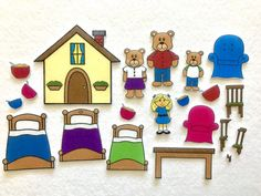 Whos sleeping in my bed? Enjoy a fun felt activity to accompany the classic tale of Goldilocks and The Three Bears. This set includes 18 felt pieces and a large felt house. Children can use the felt pieces to retell the story or make their own pretend play stories. This felt set can be used for independent play, group activities, and for speech therapy. Felt pieces come in a labeled plastic ziplock bag, to store for future play. Also included in the purchase is a handout including several…