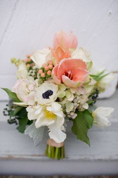 seemingly simplicity. Tulips, anemone, hypericum and hydrangea