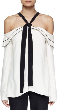 Proenza Schouler Long-Sleeve Off-The-Shoulder Blouse, Off White