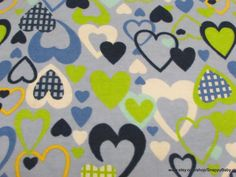 Flannel Fabric  All My Love Blue   1 yard  100% by SnappyBaby