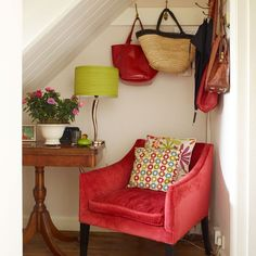 Fun hallway with under-the-stairs table and chairs