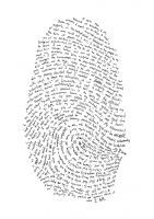 typographic self portrait -- enlarge your own thumb print and then write about yourself in your own handwriting following the lines of your print (uses a lightbox)