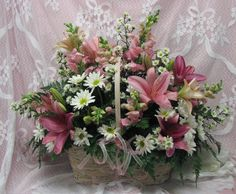 Very Large Basket With Pink Lilies, Snaps, Daisies, and More