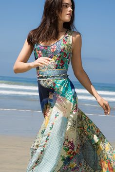 Johnny Was Clothing Summer 2015 Lookbook featuring the Patchwork Maxi Dress