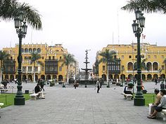 The Plaza de Armas of Lima is a beautiful large plaza built in the Spanish tradition in the center of the city in it's historic district.  It has several palaces and a cathedral.