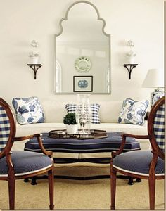Blue and white room  luv the blue and white chairs