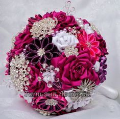 "Fabric Wedding Bouquet, Brooch bouquet ""Scarlet""  White and Fuchsia"