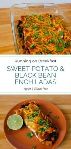 Sweet Potato & Black Bean Enchiladas - Running on Breakfast Easy Weeknight Dinners, Quick Easy Meals, Vegetarian Recipes, Healthy Recipes, Diet Recipes, Healthy Food, Black Bean Enchiladas, Sweet Potato Breakfast, Balanced Meals