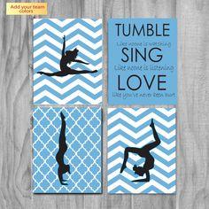 SALE- Girls Gymnastics Art, Cute Personalized Gymnastics Gifts and Gymnastics Wall Art- silhouettes