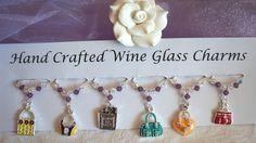 Handbag Wine Glass Charms - Teacher Gifts - New Home Gifts - Wine Glass Charms £9.99 Wine Glass Charms, Great Birthday Gifts, Wine Gifts, Swarovski Pearls, New Home Gifts, Hostess Gifts, Mother Day Gifts, Bridal Accessories, Teacher Gifts