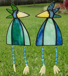 Whimsical Stained Glass Bird Suncatchers with Legs, Blue and Green, CHOICE #344