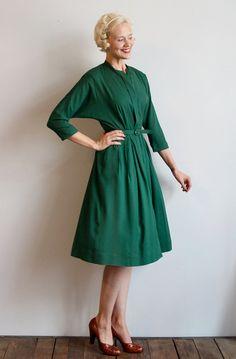 1940s Dress // Hartford Wool Crepe Dress // by dethrosevintage