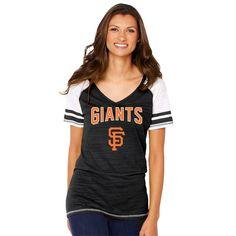Women's San Francisco Giants Soft as a Grape Black Sleeve Stripe Gameday V-Neck Tri-Blend T-Shirt