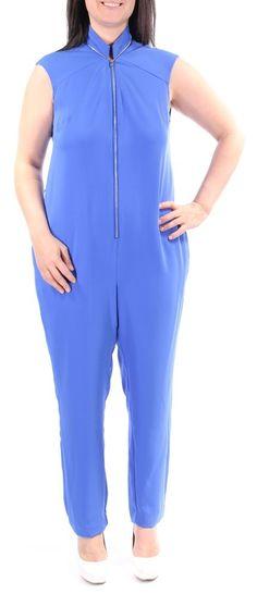b1af3f3bd7cf RACHEL ROY  159 1363 Blue Collared Straight Leg Jumpsuit Regular L BB   fashion  clothing