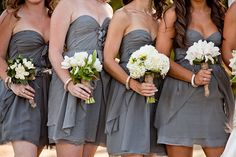 Style Me Pretty   Gray Bridesmaids Dresses. I'm planning my wedding y'all