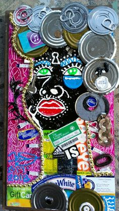 Collage of recycled materials by Frank D. Robinson