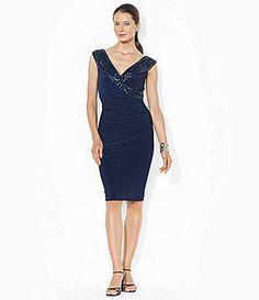 Lauren Ralph Lauren Sequined-Neck Sheath Dress - navy cocktail dress