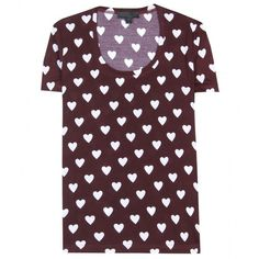 Burberry Prorsum Heart-Print Jersey T-Shirt (1526605 PYG) ❤ liked on Polyvore featuring tops, t-shirts, shirts, tees, deep claret, burberry shirt, relaxed fit t shirt, jersey tee, brown t shirt and relaxed tee