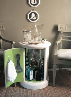 30+ Creative DIY Wine Bars for Your Home and Garden --> DIY Modern Minibar from Column Side Table