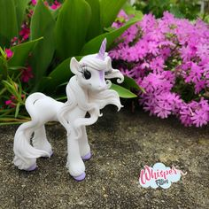 Whisper Fillies Amalthea The Last Unicorn  inspired horse pony figurine. Handmade from Polymer Clay  Visit my etsy page whisperfillies.etsy.com for more little Filly cuteness. Facebook.com/Whisperfillies