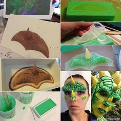 My Halloween costume this year was a dragon, inspired by Ysera in World of Warcraft. I created all the costume pieces, including the prosthetics. This project def. Costume Tutorial, Cosplay Tutorial, Cosplay Diy, Cosplay Ideas, Halloween Tutorial, Cosplay Costumes, Makeup Fx, Scary Makeup, Horror Makeup