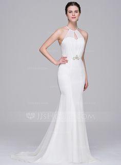 [€ 132.21] Trumpet/Mermaid Scoop Neck Sweep Train Chiffon Wedding Dress With Beading Sequins (002071602)