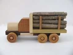 Finished Wooden Log Truck Kids Handmade by TheOriginalBranch