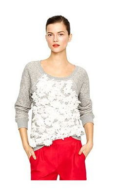 J.Crew Inspiration - A classic, raglan sweatshirt...sew on fabric flower motifs that you can buy at fabric store or dollar store