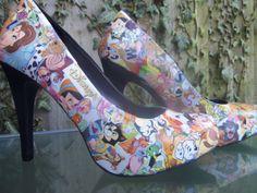 Disney decoupage shoes by Gemzgemz on Etsy, £35.00