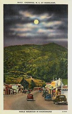Cherokee North Carolina NC 1940s Town Shell Gas Station Noble Mountain Postcard