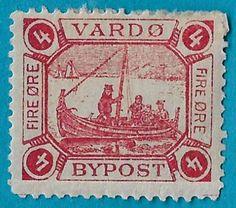 + 1893 Vardo Norway Men in Fishing Boat Scandinavian 4o Private Local Post MH