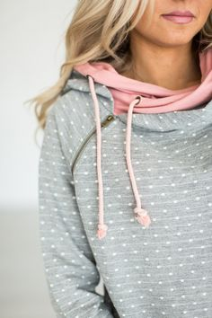LOVE this DoubleHood™ Sweatshirt - Polka Dot Pink (affiliate link) Mindy maes Market Pullover Shirt, Shirt Bluse, Raglan, Fall Outfits, Cute Outfits, Fashion Outfits, Womens Fashion, Sweater Outfits, Mode Style