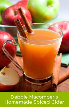 Cozy up with a warm mug of bestselling author Debbie Macomber's homemade spiced #cider. 1. Mix Six Cups of Apple Cider and 1/4 Cup Maple Syrup in a large sauce pan. 2. Place 3 Cinnamon Sticks…