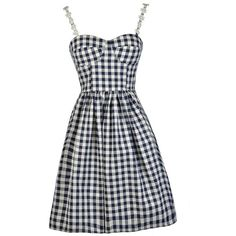 Gingham Style Bustier Pattern A-Line Dress in Navy (135 BRL) ❤ liked on Polyvore featuring dresses, sun dresses, navy summer dress, navy dress, bustier dress and summer print dresses